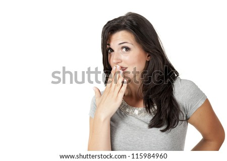 "Young woman ""oops"" - stock photo"
