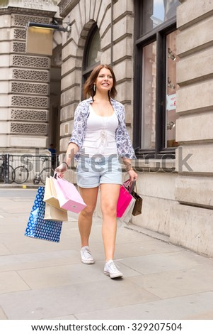 young woman out shopping