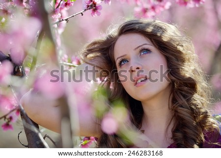 young woman outdoor in spring - stock photo