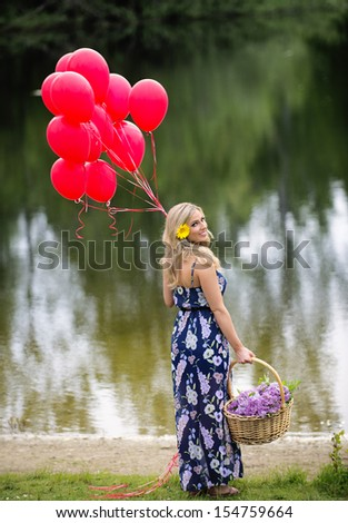 Young woman outdoors at the park - stock photo