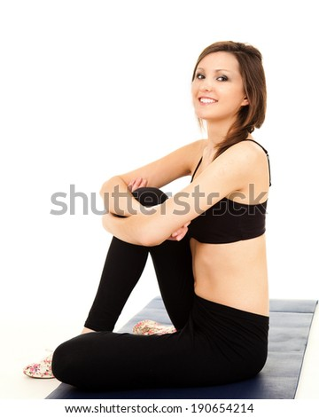Young woman over white background - stock photo