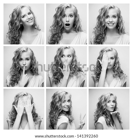 Young woman performing various expressions with her face. Black and white picture. - stock photo