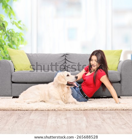 Young woman petting a dog seated on carpet next to a modern gray sofa at home shot with tilt and shift lens - stock photo