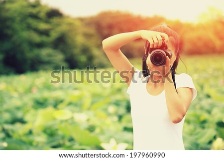 young woman photographer taking photo of blooming lotus at park - stock photo