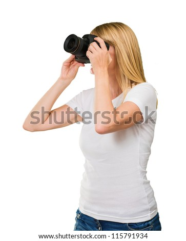 Young Woman Photographing On White Background