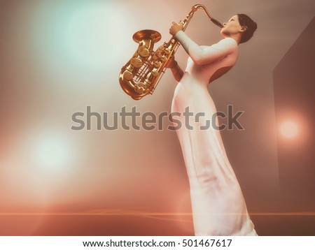 Young woman play saxophone on the stage withe colorful highlights. This is a 3d render illustration