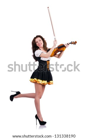 Young woman playing violin on white