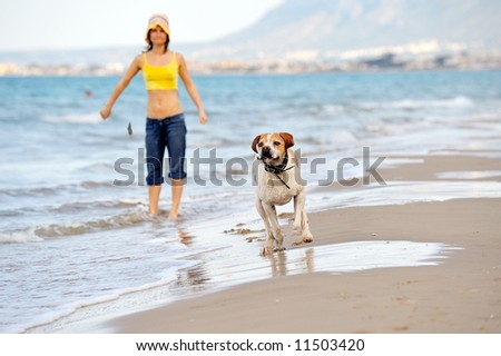 young woman playing with her dog on the beach on a summer day