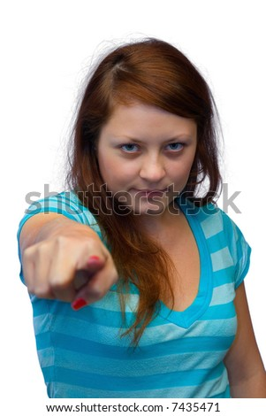 Young woman - pointing finger, isolated on white background - stock photo
