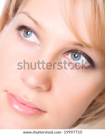 Young woman portrait. Bright soft colors.