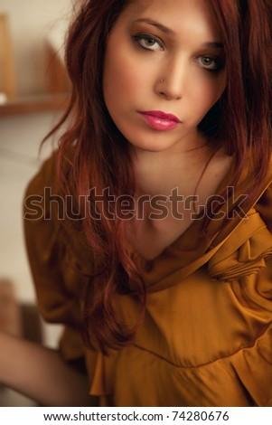 young woman portrait, indoor shot - stock photo