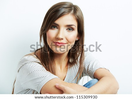 Young woman portrait Isolated on white. - stock photo
