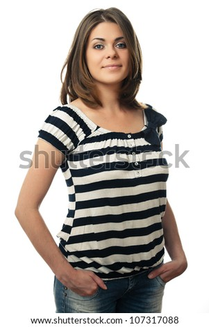 Young woman portrait isolated on white background - stock photo