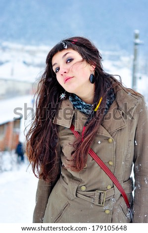 Young woman portrait winter outside - stock photo