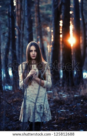 Young woman portrait with broken heart lollipop in arms. Said girl, stess with no love. - stock photo