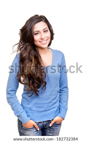 Young woman posing and smiling over white background - stock photo