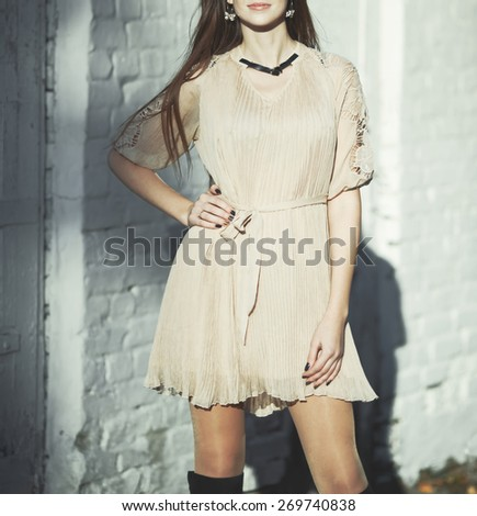 Young woman posing at street.  - stock photo
