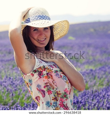 Young woman posing in lavender field