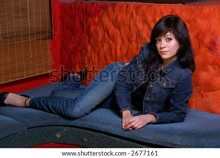 Young woman posing in restaurant