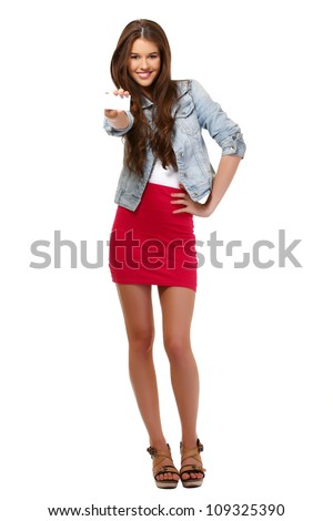 young woman posing with card on white background