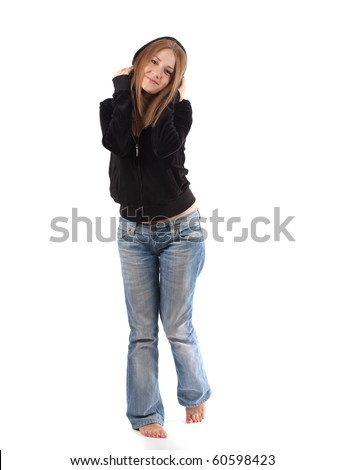 young woman posing with headphones,isolated on white - stock photo