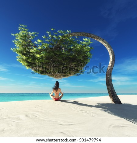 Young woman practicing yoga at seashore under a tree. This is a 3d render illustration