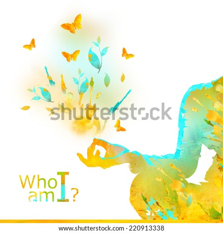 Young Woman Practicing Yoga In the Lotus Position, her Hands in  prayer mudra. Illustration from watercolor stains and spray?, isolated on a white background. Healthy Lifestyle Concept. Who am i? - stock photo
