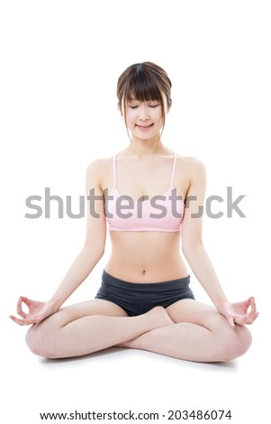 young woman practicing yoga, isolated on white background