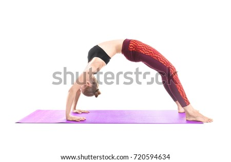 Young woman practicing yoga pose on white background
