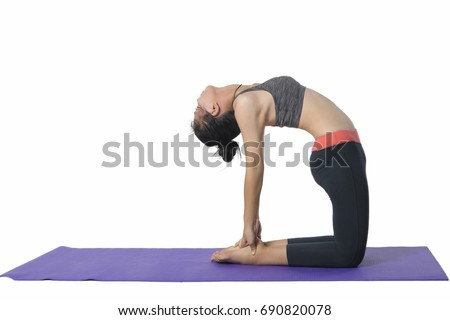 young woman practicing yoga white background image. Health care concept