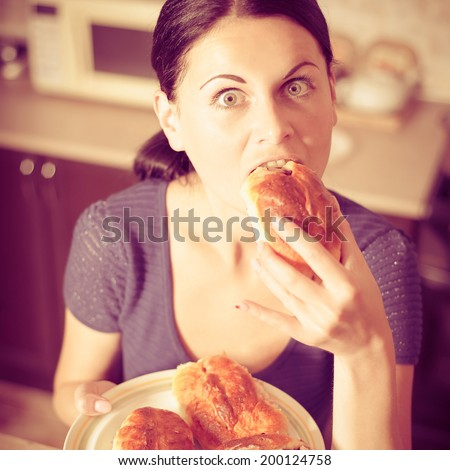 young woman prepared cherry pies, bon appetit. Photo with instagram style filters - stock photo