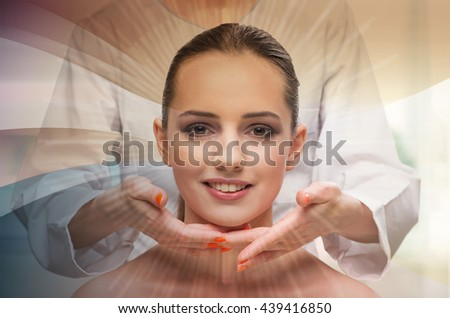 Young woman preparing for plastic surgery isolated on white - stock photo