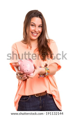 Young woman presenting a piggy bank (money box) - savings concept