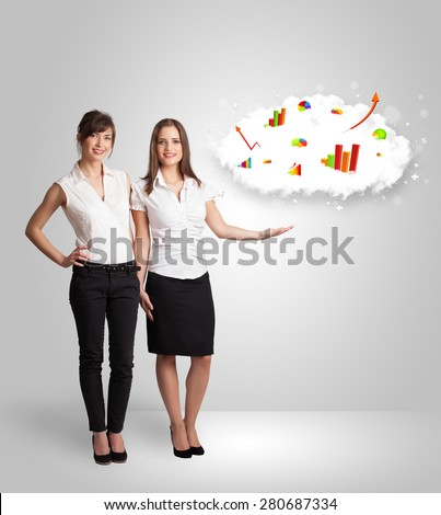 Young woman presenting cloud with graphs and charts concept - stock photo