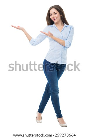 Young woman presenting something  - stock photo