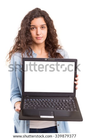 Young woman presenting your product in a laptop computer
