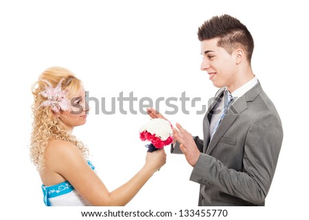 Young woman proposing with bouquet, isolated on white background - stock photo