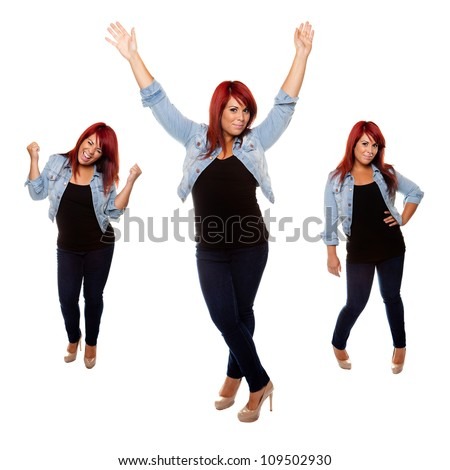 Young woman proudly shows off her physique after weight loss isolated on a white background. - stock photo