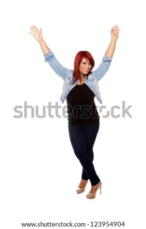 Young woman proudly shows off her physique wearing jeans over a white background. - stock photo
