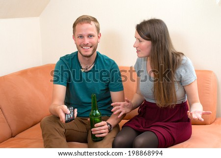 young woman quarreling with her boyfriend - stock photo
