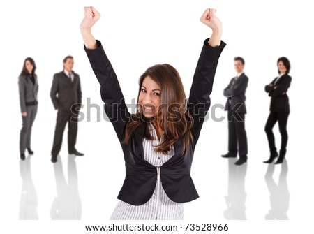Young woman raising his hands in sign of victory. Businesspeople in the background. - stock photo