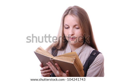 Young woman reading a book, isolated