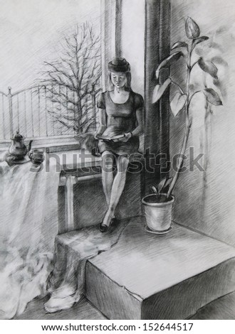 Young Woman reading a Book: Young Woman sitting near a Window and reading a Book. It is a Pencil Drawing.