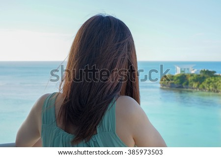 Young woman relax in Tropical resort