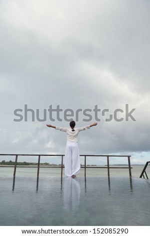 young woman relax on cloudy summer day and bad weather