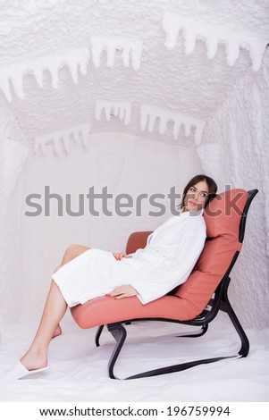 Young woman relaxing in the salt room - stock photo