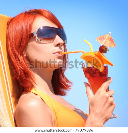 young woman relaxing on beach