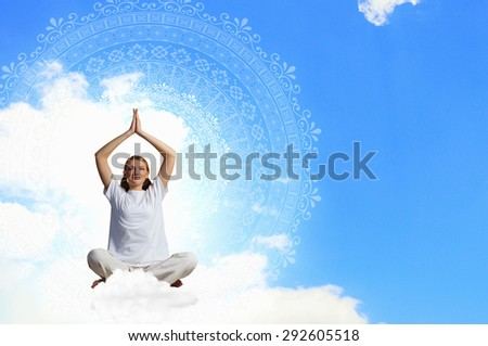Young woman representing soul balance and meditation concept