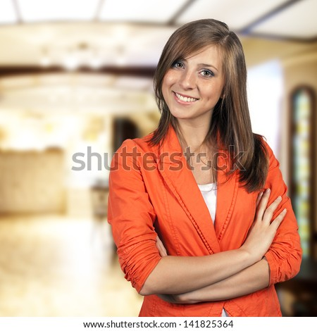 Young woman restaurant manager - stock photo