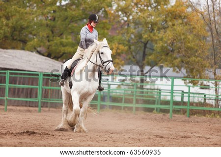 Young woman riding shire horse in arena